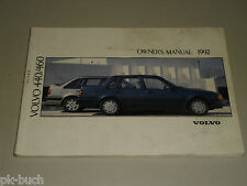 Betriebsanleitung Handbuch Owner's Manual Volvo 440 460 (MY 1992), Stand 07/1991
