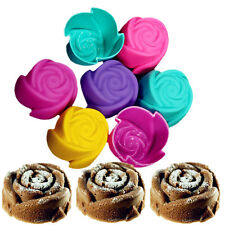 7pcs Silicone Rose Cupcake Muffin Mold Jelly Maker Bake Mould Cup Cake Chocolat