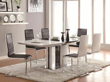 LENNOX - 7pcs Modern White Rectangular Dining Room Table & Chairs Set Furniture
