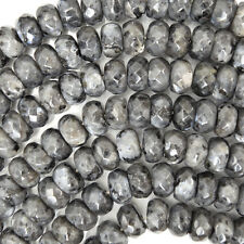 "10mm faceted grey labradorite larvikite rondelle beads 15"" strand"