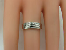 Solid 18k White Gold Round Diamond Cluster Channel 5.6mm Band Ring Size 6.5