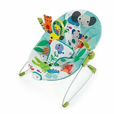Bright Starts Jungle Stream Pond Blue Vibrating Bouncer Bouncy Seat Chair NEW