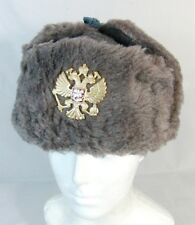 Russian Army Winter Fur Hat Imperial Eagle Badge 56 Small Original 90's Surplus