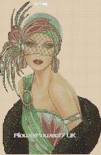 Gráfico de punto de Cruz Art Deco Dama 33 FLOWERPOWER 37-UK -... Gratis Reino Unido P&p..