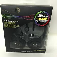 AblePlanet SH180BMM-SI170B Stereo Headphone+ Bonus Sound Isolation Earphones-Blk