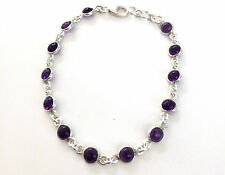 Handmade 925 Sterling Silver Bracelet with Real Amethyst Stones and a Gift Box