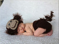 Monkey Crochet Knit Newborn Baby Boy#Girl Costume Photo Photography Prop Outfits