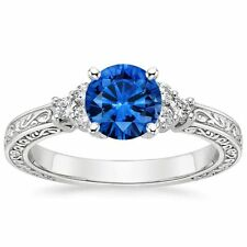 1.30 CTS ROUND CUT BLUE SAPPHIRE ENGAGEMENT RING IN SOLID 14KT WHITE GOLD