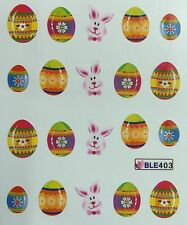 Nail Art Water Decals Easter Bunny & Easter Eggs BLE403