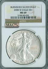 2008-W SILVER EAGLE NGC MAC MS69 PQ 2ND FINEST SPOTLESS  .