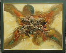 NOTABLE 1979 SIGNED 3-D ABSTRACT SEASHELL ART PAINTING BY ADAMO * LISTED