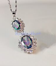 18K White Gold Filled - MYSTICAL Rainbow Topaz SunFlower Pendant Women Necklace