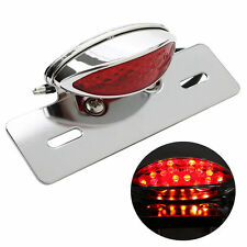 Red LED MOTORCYCLE TURN SIGNAL BRAKE LICENSE PLATE INTEGRATE TAIL LIGHT Chrome