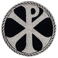 CROSS CHI-RHO EMBROIDERED IRON-ON PATCH JC CHRISTOGRAM SILVER METALLIC EMBLEM 3""
