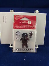 NEW STUDIO G CLEAR STAMP SET GINGERBREAD MAN PEPPERMINT CHRISTMAS CANDY VC0057