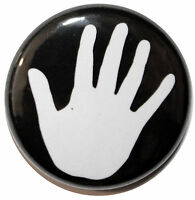 "1"" (25mm) 'White Hand Print' Button Badge PIn - High Quality"