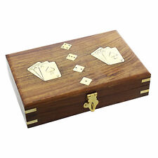 Quality Wooden Cased Playing Card & Dice Set Gift Ideas for Him For Birthdays