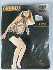 Oroblu S/M Black Fishnet Stockings Pantyhose Tights Tricot NEW Made in Italy