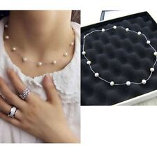 Women Jewelry Pendant Chain Pearl Choker Chunky Statement Bib Collar Necklace