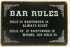 Bar Rules Funny Retro Vintage Metal Sign Home Garage Workshop Pub Studio