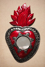 Colourful Mexican Tin mirror Heart Milagro-Folk Art Oaxaca corazon token Miracle
