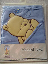 CLASSIC WINNIE THE POOH Infant Baby Boys Blue HOODED TOWEL RARE HTF NEW