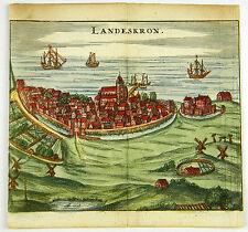 LANDSKRONA SCHWEDEN KOL KUPFERSTICH STADTANSICHT ZEILLER MERIAN 1656 AD #D863S