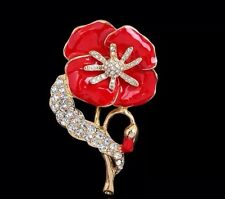 LARGE RED DIAMANTE POPPY FLOWER BROOCH CRYSTAL ENAMEL REMEMBRANCE PIN GIFT SALE