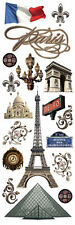 PAPER HOUSE PARIS FRANCE  TRAVEL VACATION CHIPBOARD DIMENSIONAL 3D STICKERS