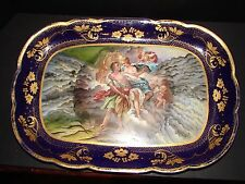 ANTIQUE ROYAL VIENNA M.Z.AUSTRIA COUPLE MEETING IN HEAVEN W/ CHERUBS PLATTER
