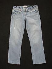 AEROPOSTALE sz 00 Skinny Crop Low Rise Stretch Light Wash Distressed Blue Jeans