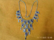 Moroccan Berber Ethnic Jewelry: Necklace Silver coloured with 16 Purple Ovals