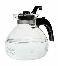 Tea Kettle Pot 12-Cup Glass Electric Gas Stovetop Whistle Lid BPA-Free Hot Water