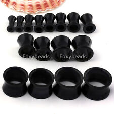 Pair Gauges White Black Clear Acrylic Hollow Flesh Tunnels Ear Expander Plugs