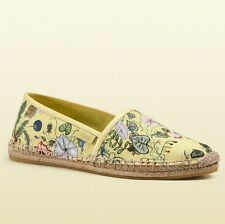 GUCCI Light Yellow Flora Knight Print Canvas Espadrille Floral Flats Size US 7