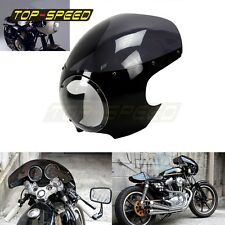 "BLACK CAFE RACER STYLE DRAG RACING VIPER FAIRING & SCREEN 5-3/4"" Headlight TOP"