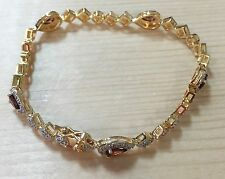 Gorgeous 2.5ctw GENUINE GARNET STONE & DIAMOND BRACELET 7.25""