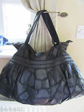 Huge/XL L.CREDI Jet Black Supple Patchwork Leather Top Handle Slouch Bag