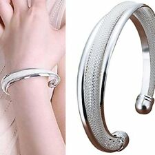 Silver Plated Cuff Bracelet Ladies Bangle Wave Curve Jewellery  Gift For Her Him
