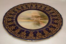 SIGNED ROYAL DOULTON GILDED HAND PAINTED PLATE c.1942 - HAVERFORDWEST - PERFECT