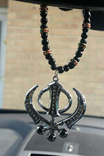 Silver Plated Punjabi Sikh Large Khanda Pendant Car Hanging in Colour Crystals