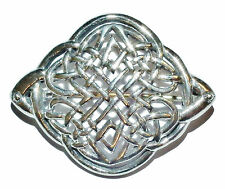 Stamped 925 Sterling Silver Celtic Style Brooch With Base Metal Pin