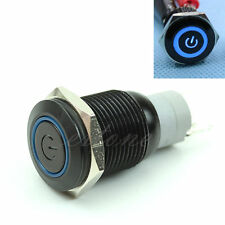 New Car Boat 16mm 12V Blue LED Metal Power Symbol Push Button Momentary Switch