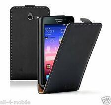 Ultra Slim BLACK Leather Case Cover Huawei Ascend Y550-L01, Y550-L02, Y550-L03