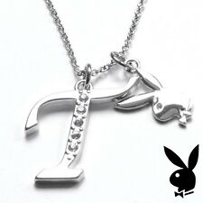 Playboy Necklace Initial Letter T Pendant Bunny Charm Crystals Platinum Plated