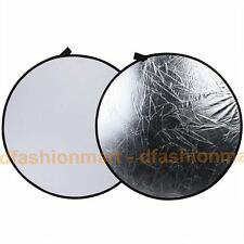 """AU Store 110cm 43"""" 2In1 Silver & White Collapsible Circular Reflector Board Disc"""