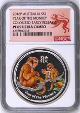 2016 P Australia PROOF COLORIZED Silver Lunar Year of Monkey NGC PF69 1oz Coin