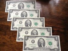 5 New Crisp Uncirculated 2 Two Dollar Bills 2003 - 5 Consecutive Notes  Exc Cond