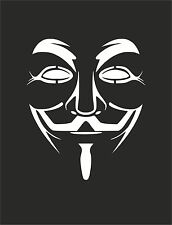 V for VENDETTA 2 Anonymous Mask Guy Guido Fawkes decal sticker vinyl wall art