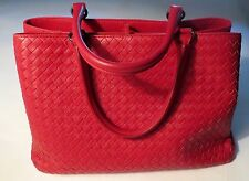 Bottega Veneta  Red  Intrecciato Leather  Woven Leather Mirror Dust Bag ToTe Bag
